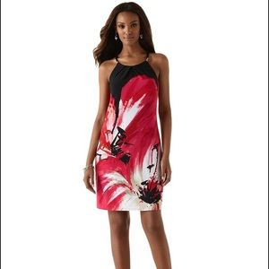 WHITE HOUSE BLACK MARKET ABSTRACT FLORAL DRESS XXS